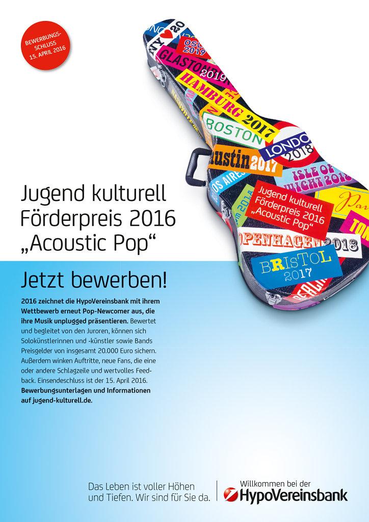JUGEND KULTURELL FÖRDERPREIS 2016 »ACOUSTIC POP«